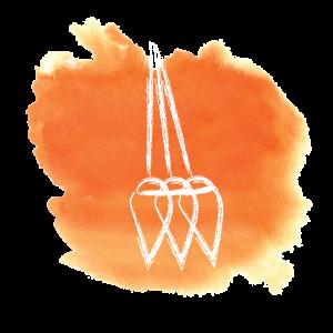 Orange swashe with swinging pendulum